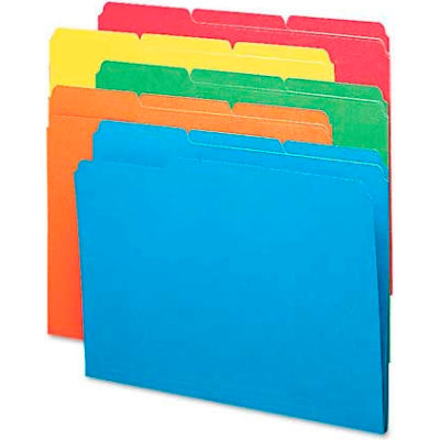 Smead® File Folders, 1/3 Cut Top Tab, Letter, Bright Assorted Colors, 100/Box