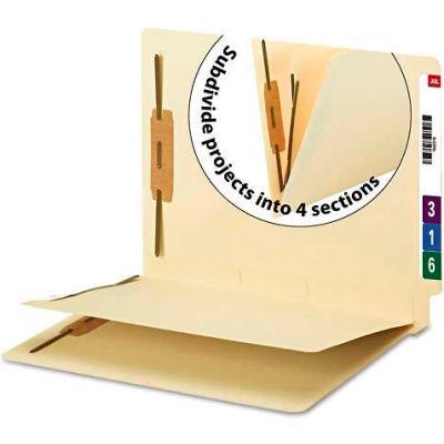 Smead® Manila End Tab Classification Folder, 1 divider, Straight Cut Tab, 50/BX