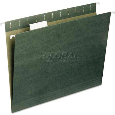Smead® Recycled Hanging File Folders, 1/5 Tab, 11 Point Stock, Letter, Green, 25/Box