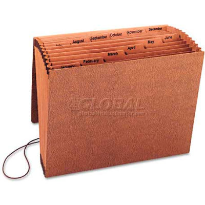 Smead® Jan-Dec Accordion Expanding File, 12 Pocket, Letter, Leather-Like Redrope