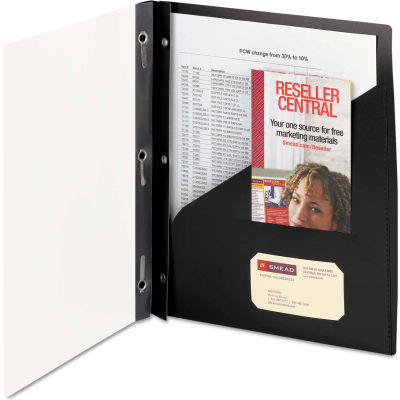 Smead® Clear Front Poly Report Cover With Tang Fasteners, 8-1/2 x 11, Black, 5/Pack