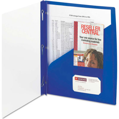 Smead® Clear Front Poly Report Cover With Tang Fasteners, 8-1/2 x 11, Blue, 5/Pack