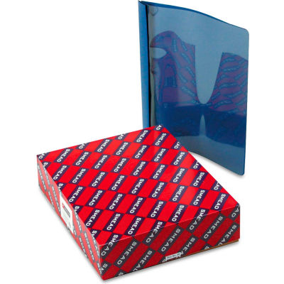 """Smead® Poly Report Cover, Tang Clip, Letter, 1/2"""" Capacity, Clear/Dark Blue, 25/Box"""