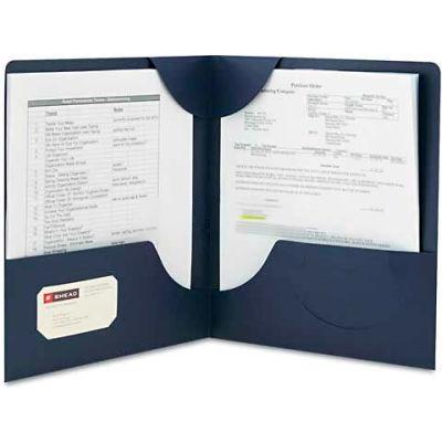 Smead® Lockit Two-Pocket Folder, Leatherette Stock, 11 x 8-1/2, Dark Blue, 25/Box