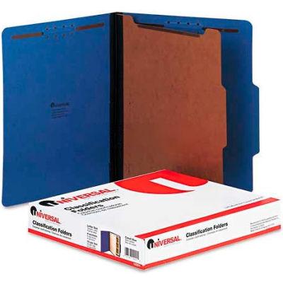 Universal® Pressboard Classification Folders, Letter, Four-Section, Cobalt Blue, 10/Box