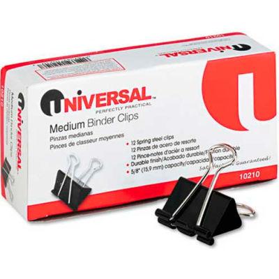 """Universal® Medium Binder Clips, Steel Wire, 5/8"""" Cap., 1-1/4"""" Wide, Black/Silver, Dozen"""