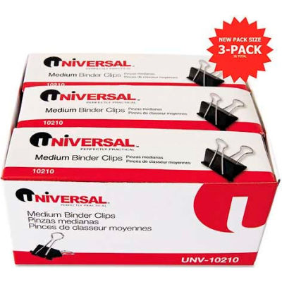 "Universal® Medium Binder Clips, Steel Wire, 5/8"" Cap., 1-1/4"" Wide, Black/Silver, 36/Pack"