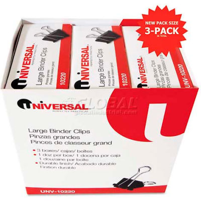 """Universal® Large Binder Clips, Steel Wire, 1"""" Capacity, 2"""" Wide, Black/Silver, 36 Each"""