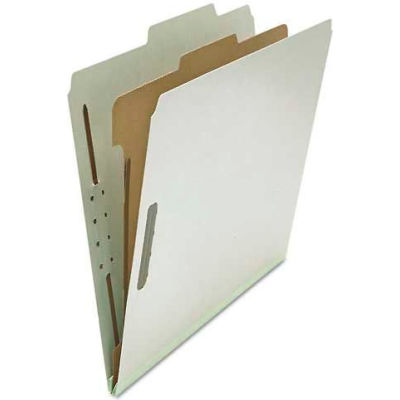 Universal® Pressboard Classification Folder, Letter, Four-Section, Gray, 10/Box