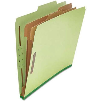 Universal® Pressboard Classification Folder, Letter, Six-Section, Green, 10/Box