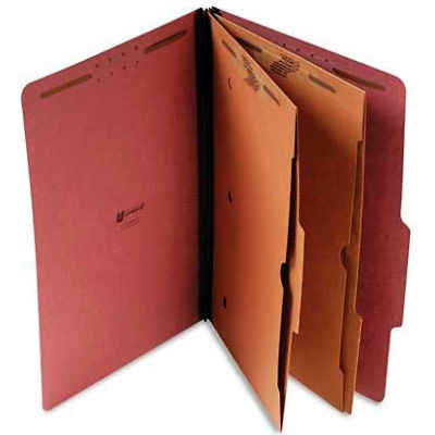 Universal® Pressboard Folder with 2 Dividers, Legal, Six-Section, Red, 10/Box