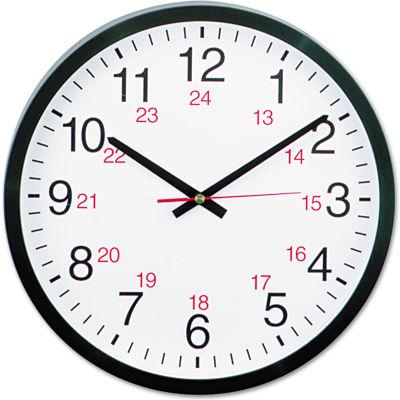 "Universal 24-Hour Round Wall Clock, 12 3/4"", Black"