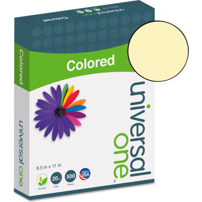 Colored Paper - Universal UNV11201 - Canary - 8-1/2 x 11 - 20 lb. - 500 Sheets/Ream