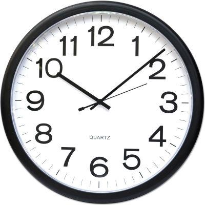 "Universal One Round Wall Clock, 13-1/2"", Black"