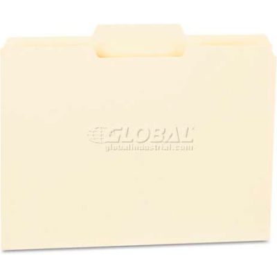 Universal® File Folders, 1/3 Cut Second Position, One-Ply Top Tab, Letter, Manila, 100/Box