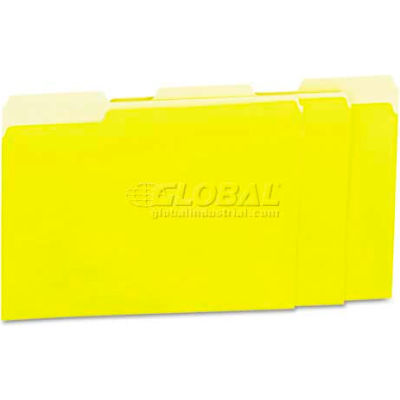 Universal® Recycled Interior File Folders, 1/3 Cut Top Tab, Letter, Yellow, 100/Box