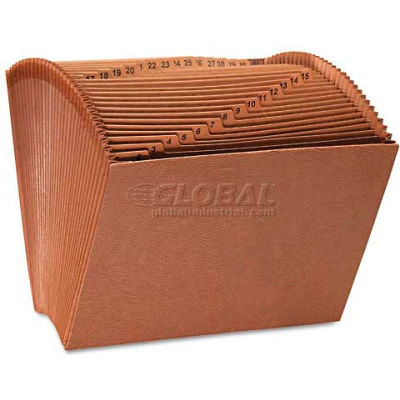 Universal® Leather-Like Expanding File, Open Top, 12 x 10, 1-31, Letter, Redrope