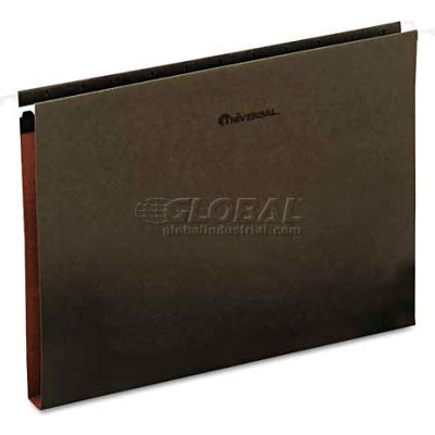 "Universal® 1"" Box Bottom Hanging Folder, Pressboard, Letter, Standard Green, 25/Box"