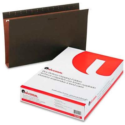 "Universal® 2"" Box Bottom Pressboard Hanging Folder, Legal, Standard Green, 25/Box"