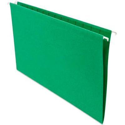 Universal® Hanging File Folders, 1/5 Tab, 11 Point Stock, Legal, Green, 25/Box