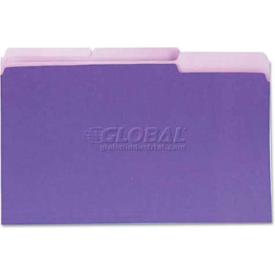 Universal® Recycled Interior File Folders, 1/3 Cut Top Tab, Legal, Violet, 100/Box