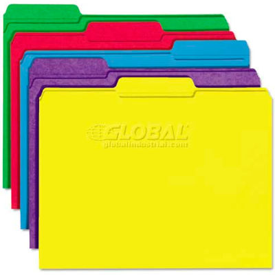 Universal® File Folders, 1/3 Cut Double-Ply Top Tab, Letter, Assorted Colors, 100/Box