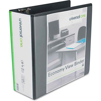 "Universal® Economy D-Ring Vinyl View Binder, 4"" Capacity, Black"