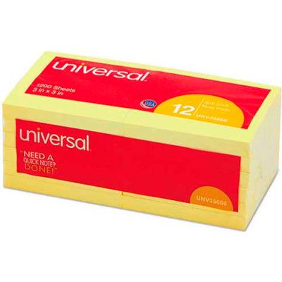 Universal® Standard Self-Stick Notes, 3 x 3, Yellow, 12 100-Sheet Pads/Pack