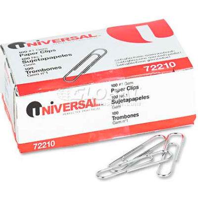Universal® Paper Clips, Smooth Finish, No. 1, Silver, 1000/Pack