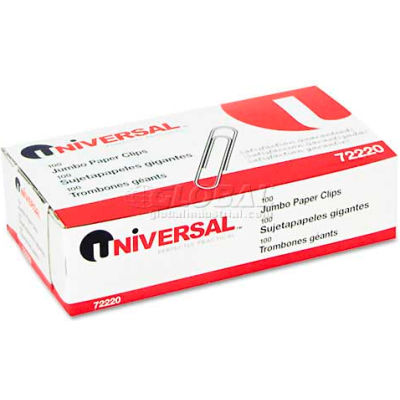 Universal® Smooth Paper Clips, Wire, Jumbo, Silver, 100/Box