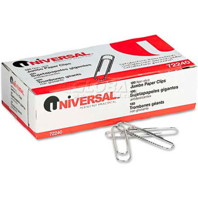 Universal® Non-Skid Paper Clips, Wire, Jumbo, Silver, 100/Box, 10 Boxes/Pack