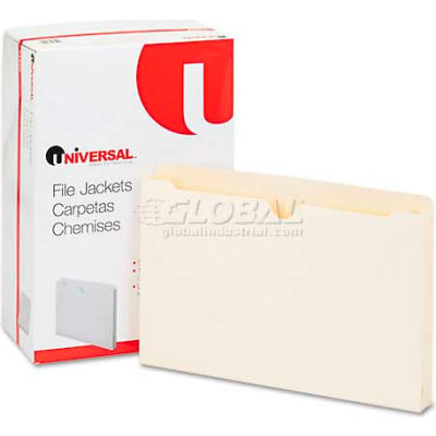 Universal® Economical File Jackets with 1-1/2 Expansion, Legal, 11 Point Manila, 50/Box