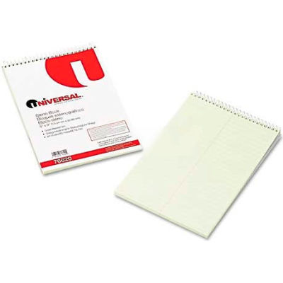 Universal® Steno Book, Gregg Rule, 6 x 9, Green, 60 Sheets/Pad