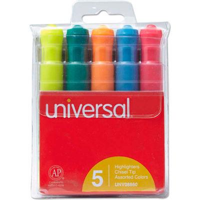 Desk Highlighter, Five-Color Set, Chisel Tip, Pocket Clip