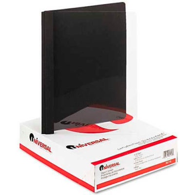 "Universal Paper Report Cover, 8-1/2"" x 11"", 1/2"" Capacity, Clear/Black, 25/Box"