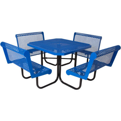 """UltraPlay 46"""" Square Table with Four 36"""" Capri Seats, Diamond Metal Surface, Portable - Blue"""