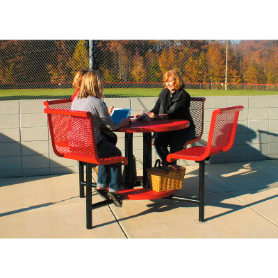 "UltraPlay 46"" Round Bar Height Table w/ Seats, Inground Mount, Diamond Metal Surface - Red"