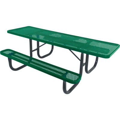"8' ADA Picnic Table, Steel, Single-Sided, 2-3/8"" Frame, Perforated, Green"
