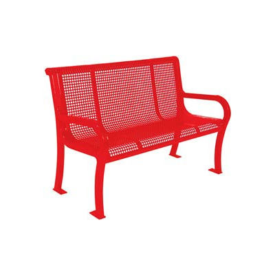 """4' Lexington Bench, Perforated 48""""W x 25""""D - Red"""