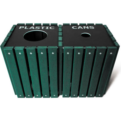 UltraPlay (2) 20 Gallon Green Recycle Trash Receptacle w/Lid, Can/Glass - TRSQ-40-GRN-C/G