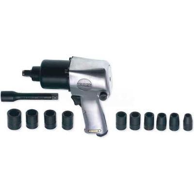 "Urrea Extra Heavy Duty Twin Hammer Pistol Grip Impact Wrench Set UP731KM, 1/2"" Drive, 7000 RPM"