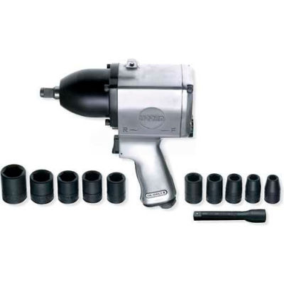 "Urrea Heavy Duty Pin Clutch Pistol Grip Impact Wrench Set UP734HKM, 1/2"" Drive, 7000 RPM"