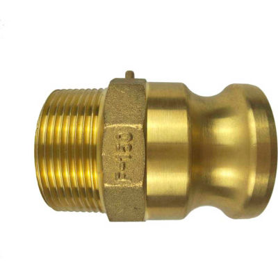 """2"""" Brass Type F Adapter with Threaded NPT Male End"""