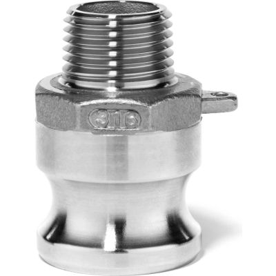 "1/2"" 316 Stainless Steel Type F Adapter with Threaded NPT Male End"