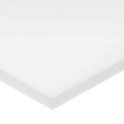 """White UHMW Plastic Bar w/ LSE Acrylic Adhesive - 1/2"""" Thick x 1-1/2"""" Wide x 48"""" Long"""