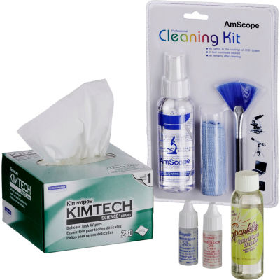 AmScope MLAB-CLS-CKI-KIM Microscope Operation and Maintenance Kit - Immersion Oil & Cleaning Package