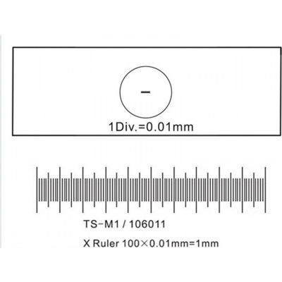 AmScope MR095 Stage Micrometer Calibration Slide For Microscope Cameras, 0.01mm/100 Divisions
