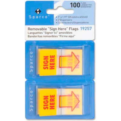 """Sparco™ """"Sign Here"""" Flags, 1"""" x 1-3/4"""", Yellow, 50 Flags/Dispenser, 2 Dispensers/Pack"""