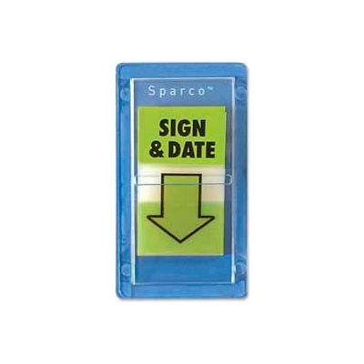 """Sparco™ """"Sign and Date"""" Flags, 1"""" x 1-3/4"""", Green, 100 Flags/Pack"""