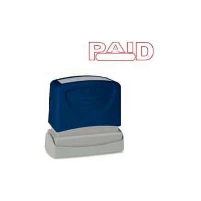 """Sparco™ Pre-Inked Message Stamp, PAID, 1-3/4"""" x 5/8"""", Red"""